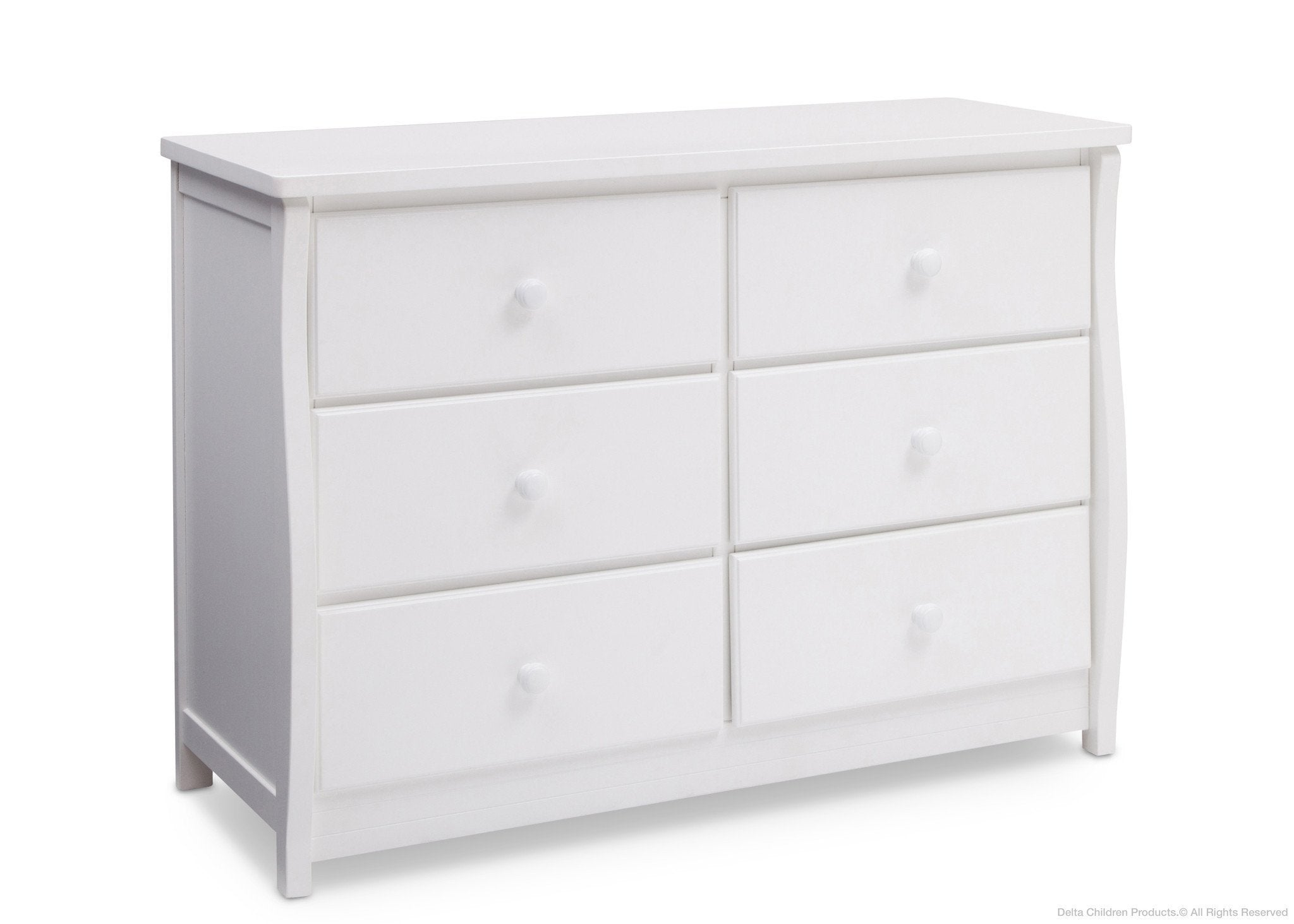 Delta Children Bianca White (130) Clermont 6 Drawer Dresser, Side View a1a