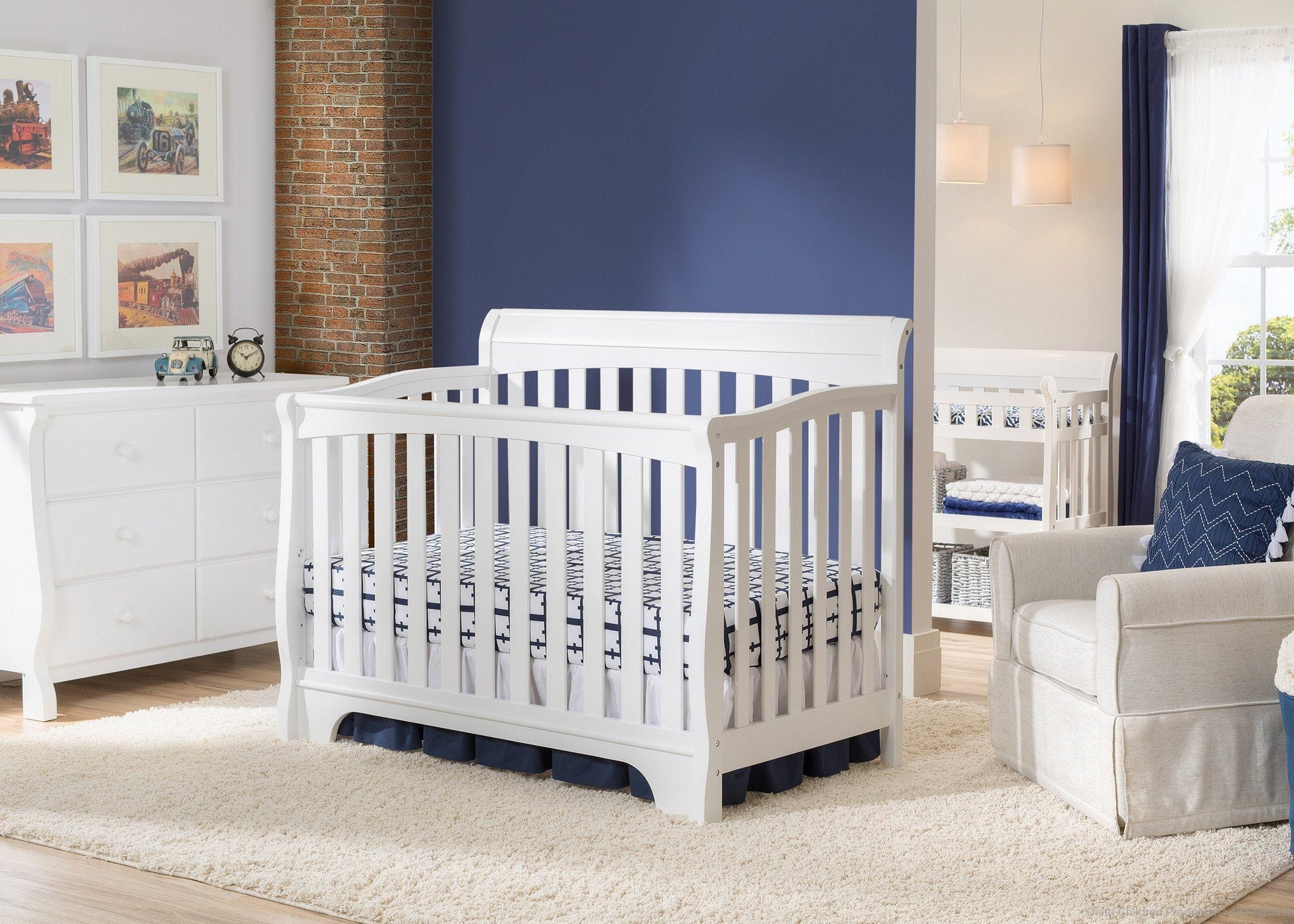 Delta Children White (100) Eclipse 4-in-1 Crib In Nursery a1a