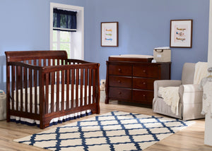 Delta Children Black Cherry Espresso (607) Eclipse 4-in-1 Crib In Nursery c1c