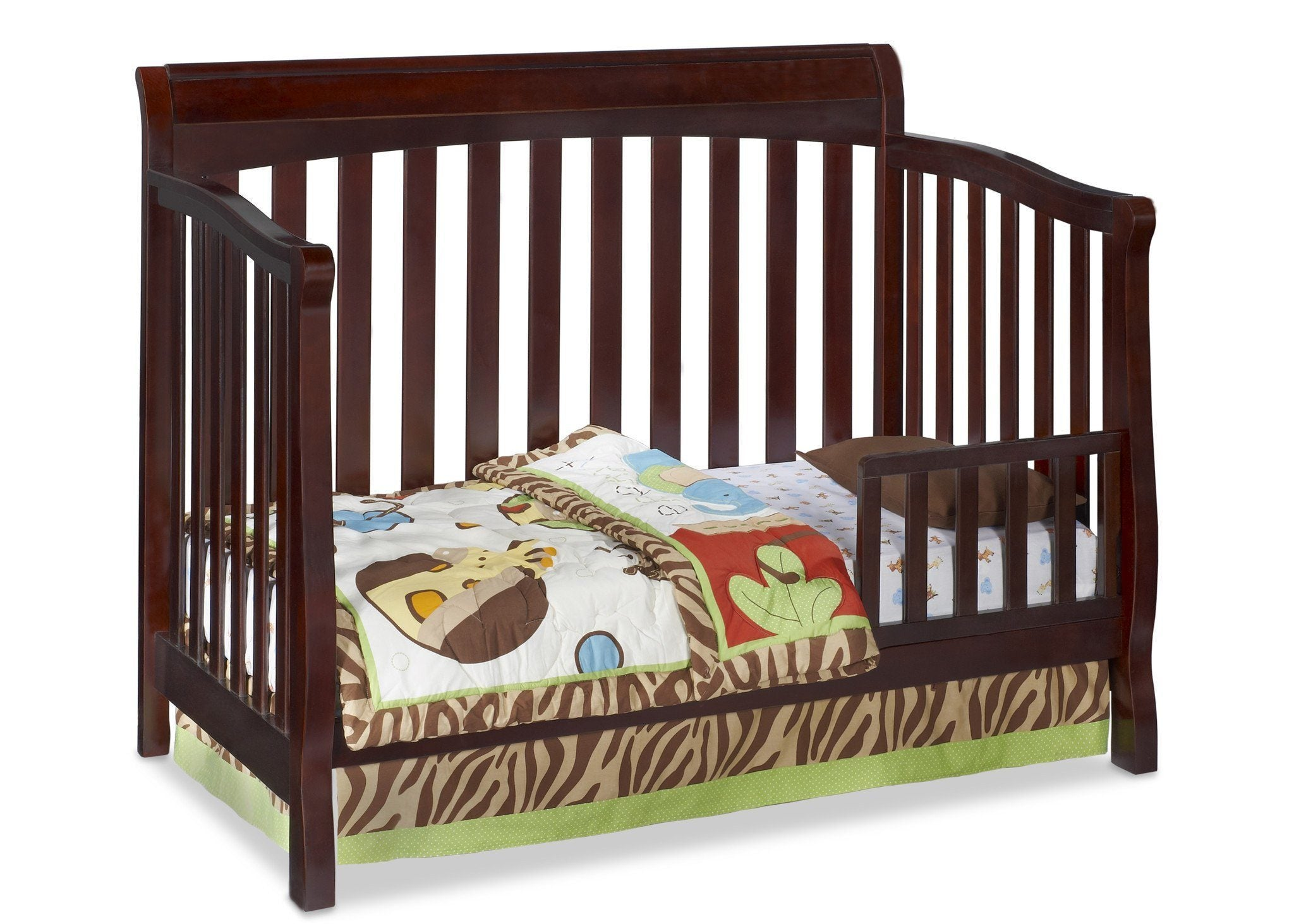 Delta Childrens Vintage Espresso (616) Eclipse 4-in-1 Toddler Bed Conversion d2d