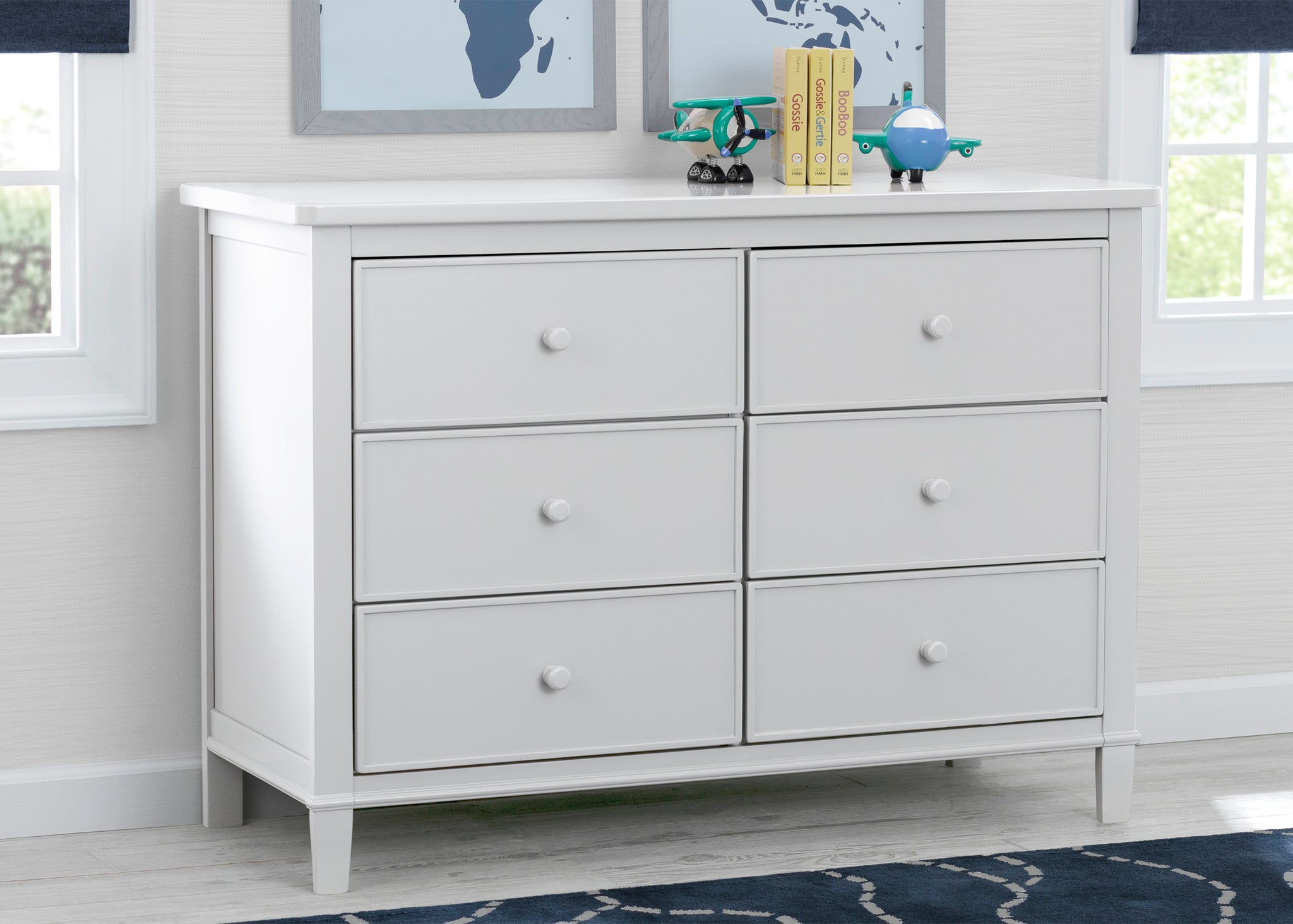 Delta Children White (100) Haven 6 Drawer Dresser, Hangtag View