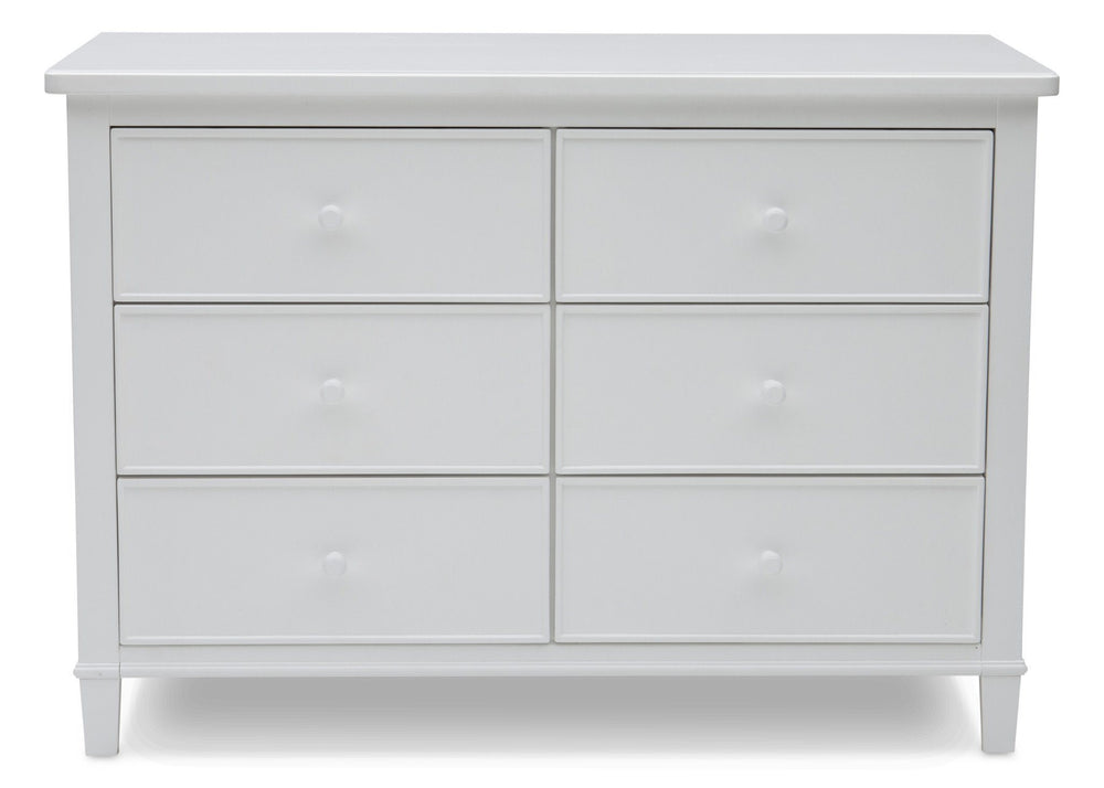 Delta Children White (100) Haven 6 Drawer Dresser, Front Silo View