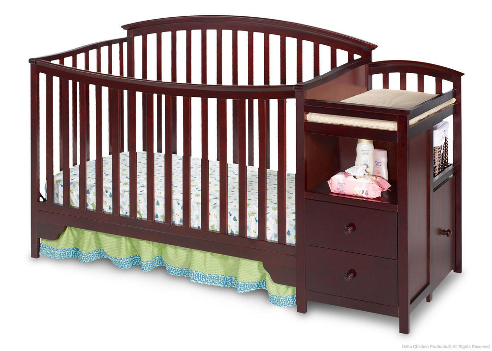 Delta Children Espresso Cherry (205) Sonoma Crib 'N' Changer, Crib Conversion Front View a2a
