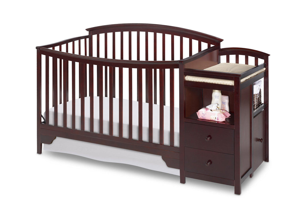 Delta Children Espresso Cherry (205) Sonoma Crib 'N' Changer, Crib Conversion Front View