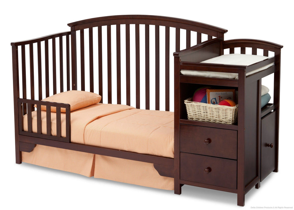 Delta Children Black Cherry Espresso (607) Sonoma Crib 'N' Changer, Toddler Bed Conversion b4b