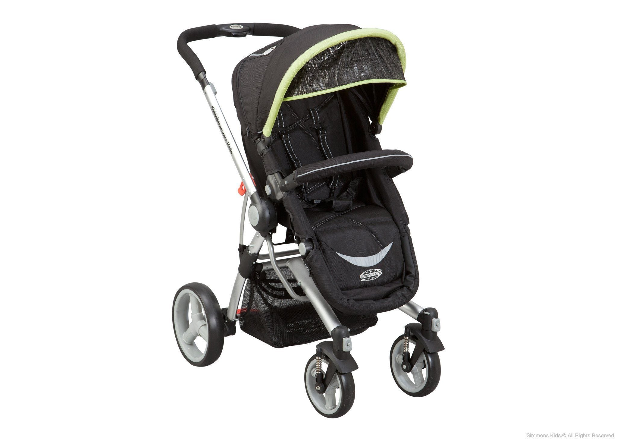 Simmons Kids Black with Green Trim (013) Comfort Tech Tour Buggy Stroller, Right View a1a