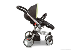 Simmons Kids Black with Green Trim (013) Comfort Tech Tour Buggy Stroller, Full Right View with Canopy Option a2a