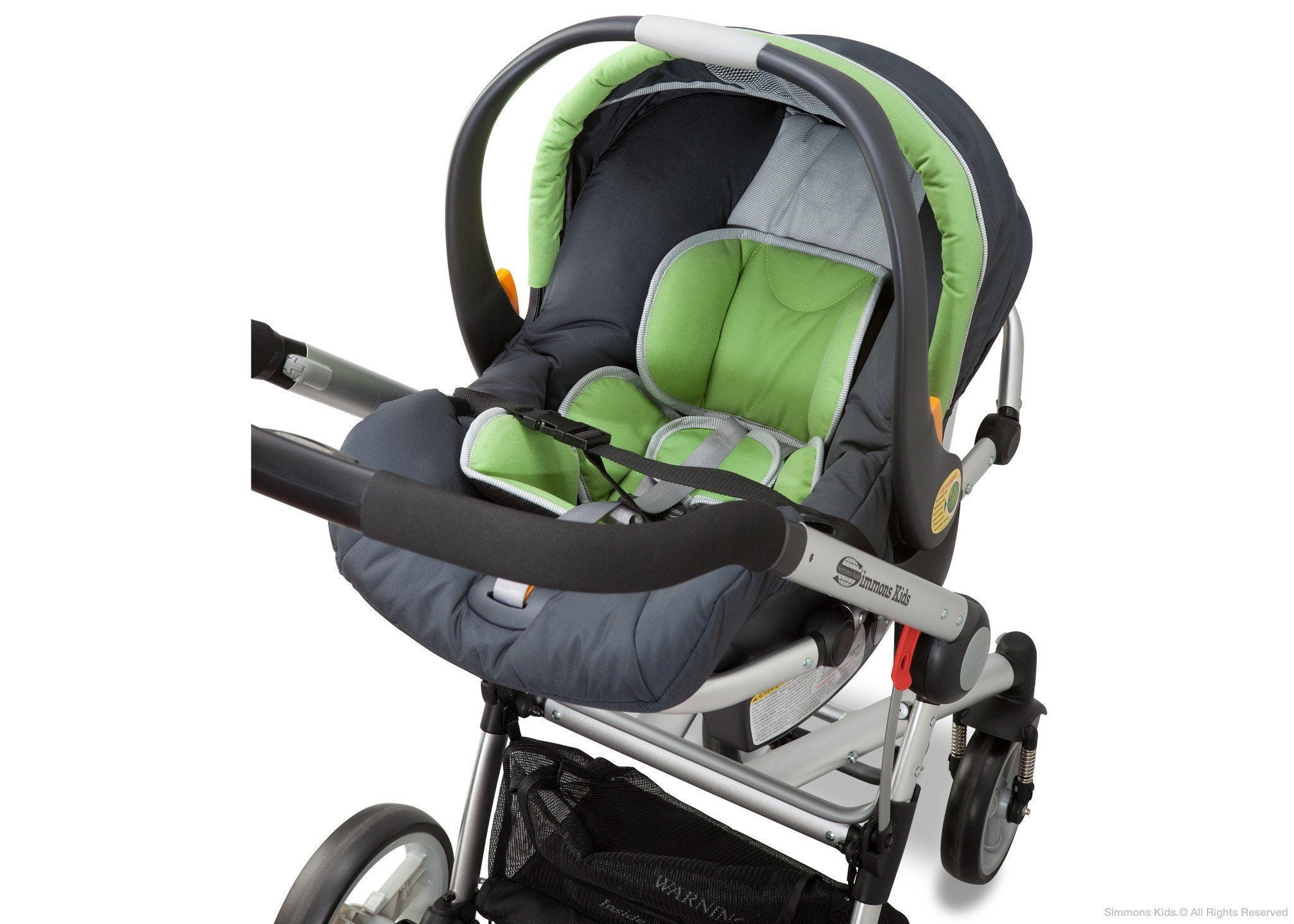 Simmons Kids Black with Green Trim (013) Comfort Tech Tour Buggy Stroller, Full Left View with Seat Detail a3a