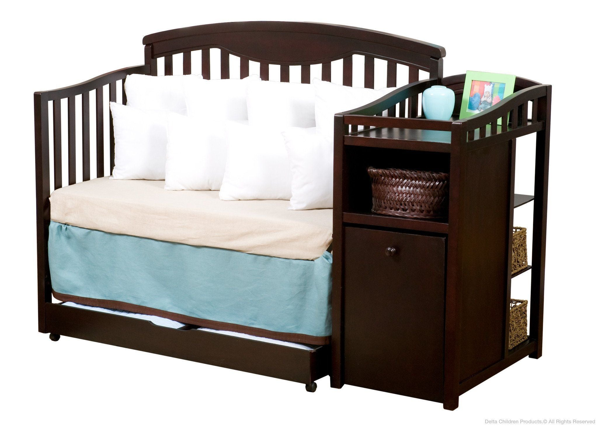 Delta Children Espresso Cherry (205) Cambridge Crib 'N' Changer, Day Bed Conversion a4a