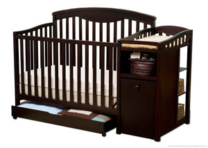 Delta Children Espresso Cherry (205) Cambridge Crib 'N' Changer, Crib Conversion a2a