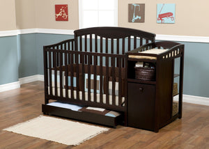 Delta Children Espresso Cherry (205) Cambridge Crib 'N' Changer in Setting a1a