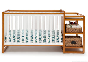 Delta Children Warm Honey / White (2053) Gramercy Crib 'N' Changer, Crib Conversion Front View a3a