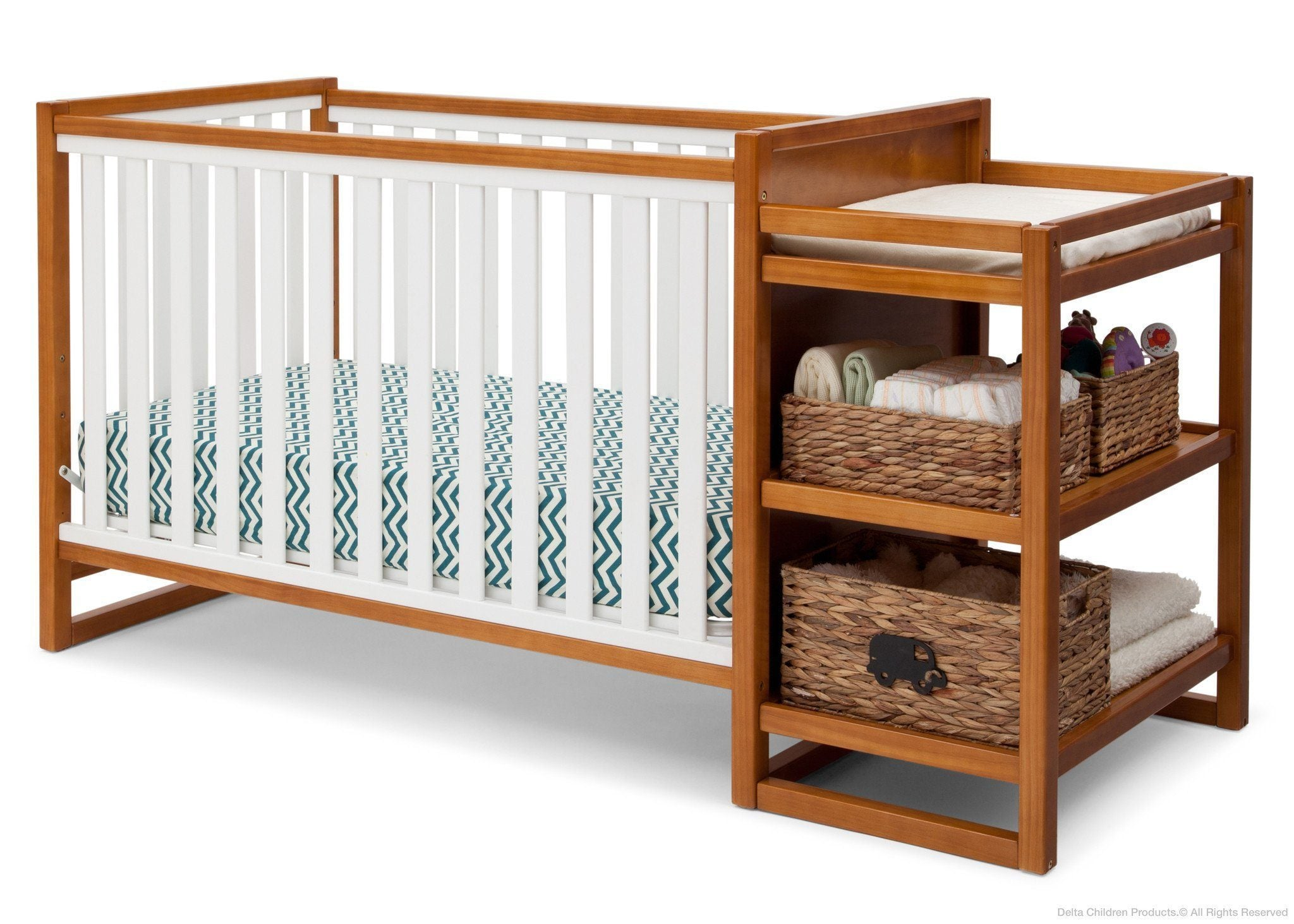 Delta Children Warm Honey / White (2053) Gramercy Crib 'N' Changer, Crib Conversion