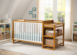 Delta Children Warm Honey / White (2053) Gramercy Crib 'N' Changer, Crib Conversion with Props 2 a2a
