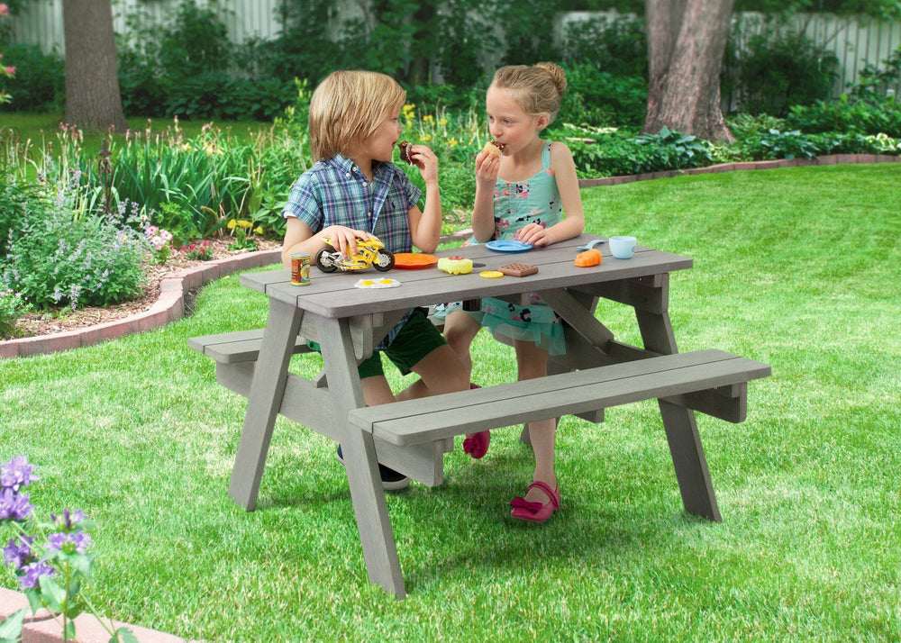 Delta Children Stone Grey (3002) Child's Picnic Table in Setting b1b
