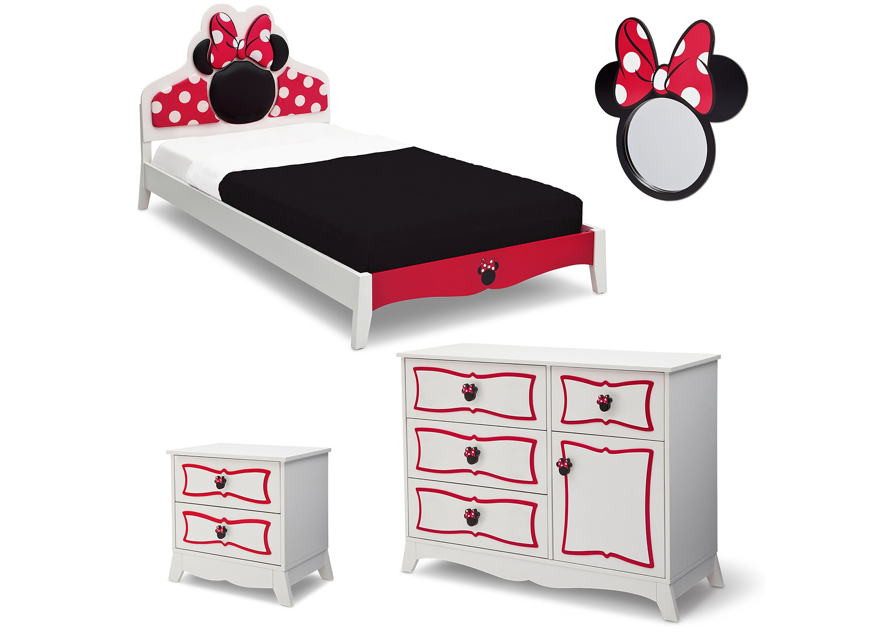 Minnie Mouse Wooden Twin Bedroom Collection (99447MN), Silo Collection, A2a  ...