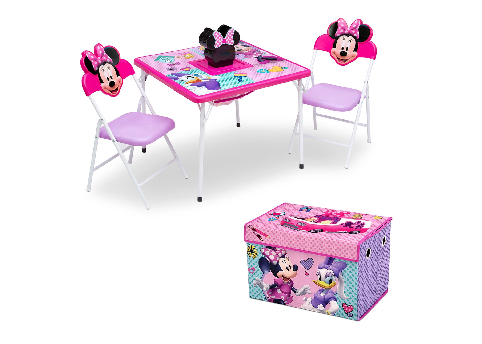 Disney Minnie Mouse (1064) 4-Piece Kids Furniture Set (99533MN), Table and Toy Box, a2a