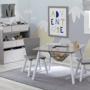 Delta Children Light Grey and White (1176) 4-Piece Toddler Playroom Set, Room View