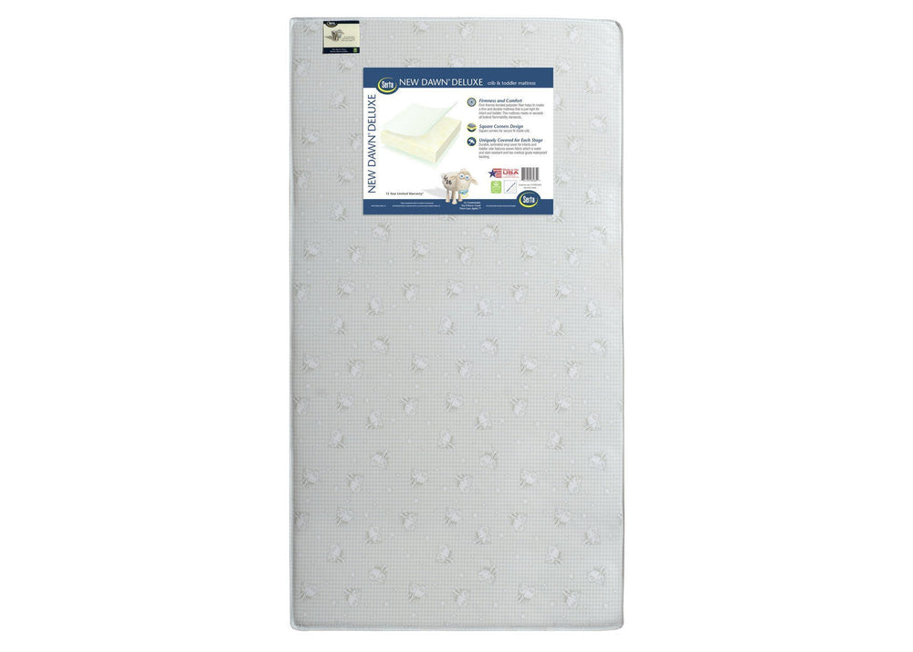 Serta New Dawn Deluxe Crib & Toddler Mattress, Front View, a3a
