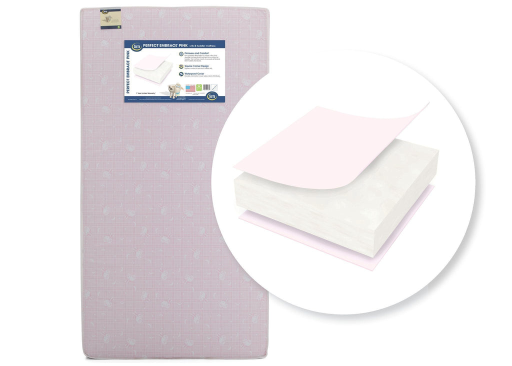 "Serta Perfect Embrace Pinkâ""¢ Crib & Toddler Mattress Front View a1a"