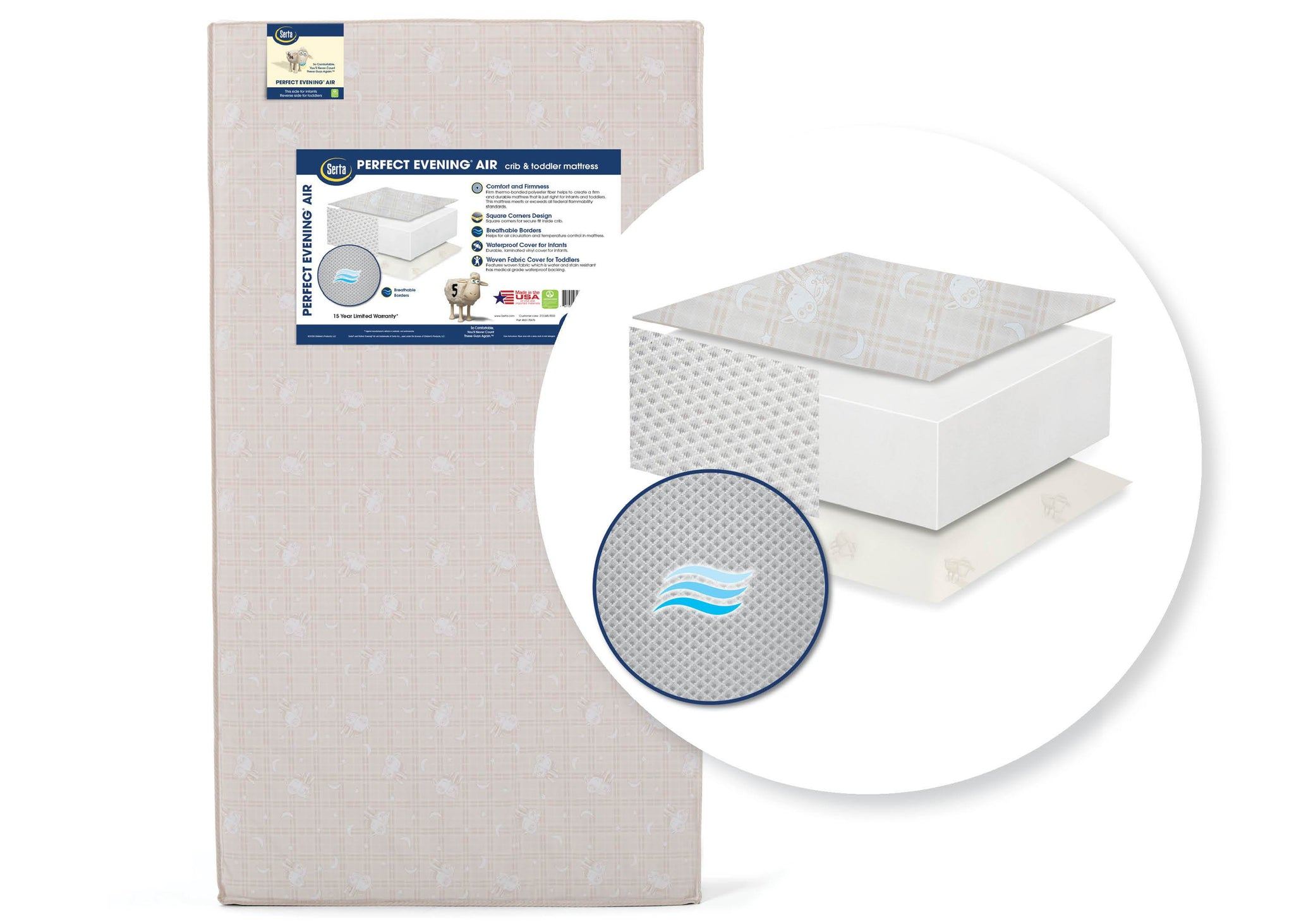 Serta Perfect Evening Air Crib and Toddler Mattress (A41119-1117), a1a Perfect Evening Air Crib and Toddler Mattress No Color (NO)