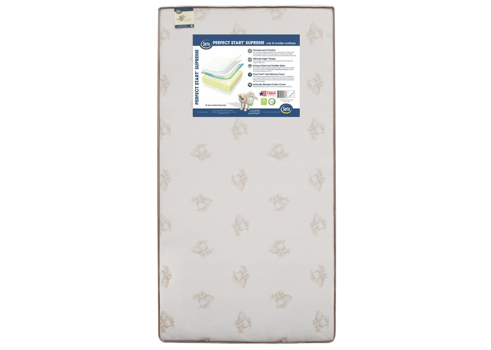 Serta Perfect Start Supreme Crib & Toddler Mattress, Front View, a3a