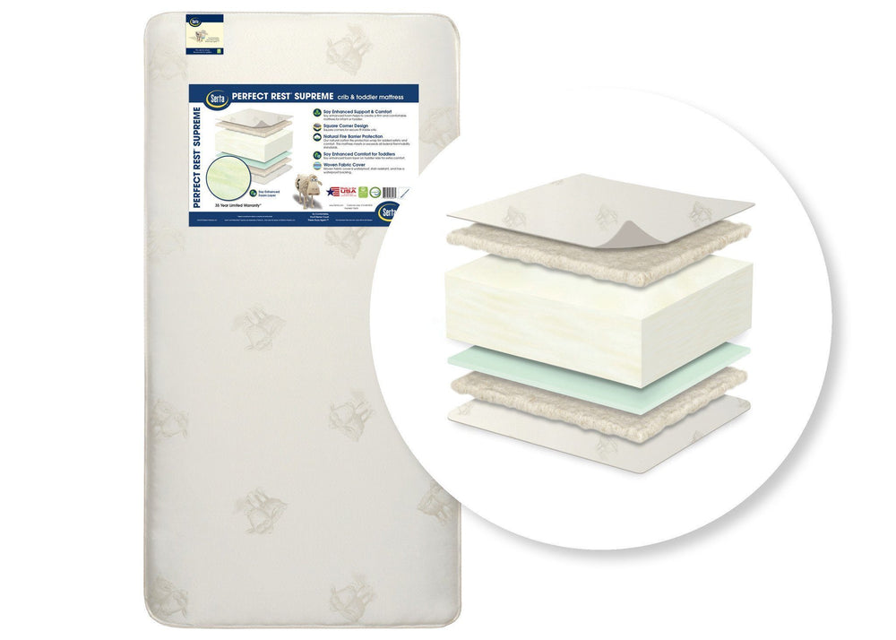 Serta® Perfect Rest® Supreme Crib and Toddler Mattress Cutout View a2a