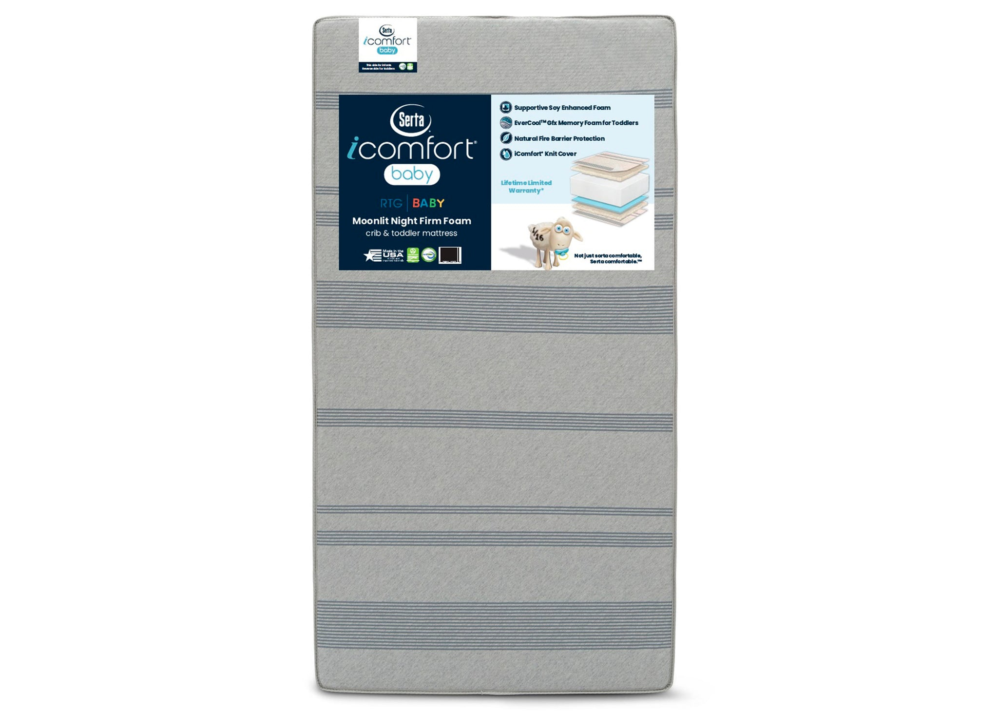 Serta iComfort Baby Moonlit Night Firm Foam Crib and Toddler Mattress, Main View No Color (NO)
