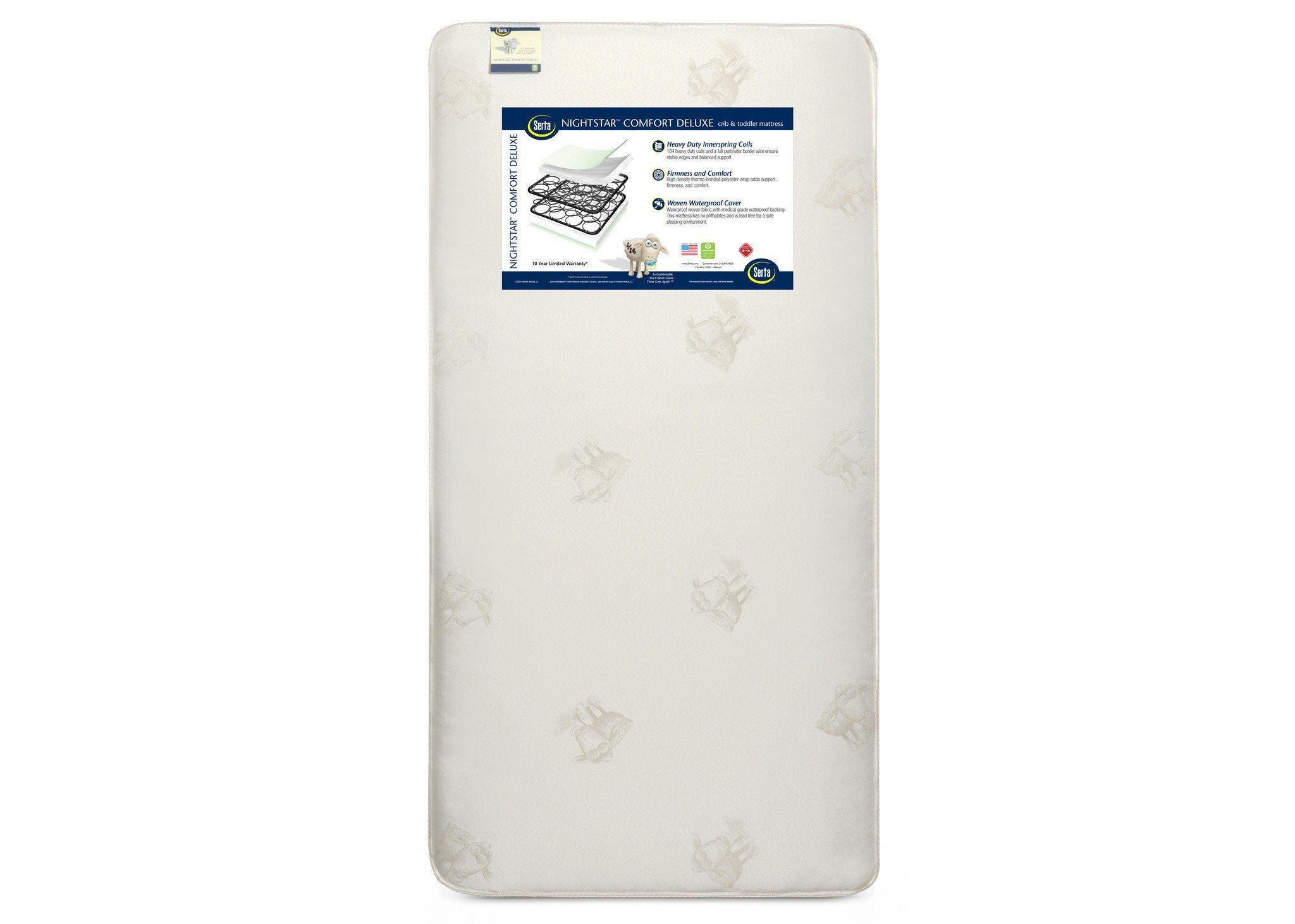 "Serta Nightstarâ""¢ Comfort Deluxe Crib & Toddler Mattress Front View a4a No Color (NO)"