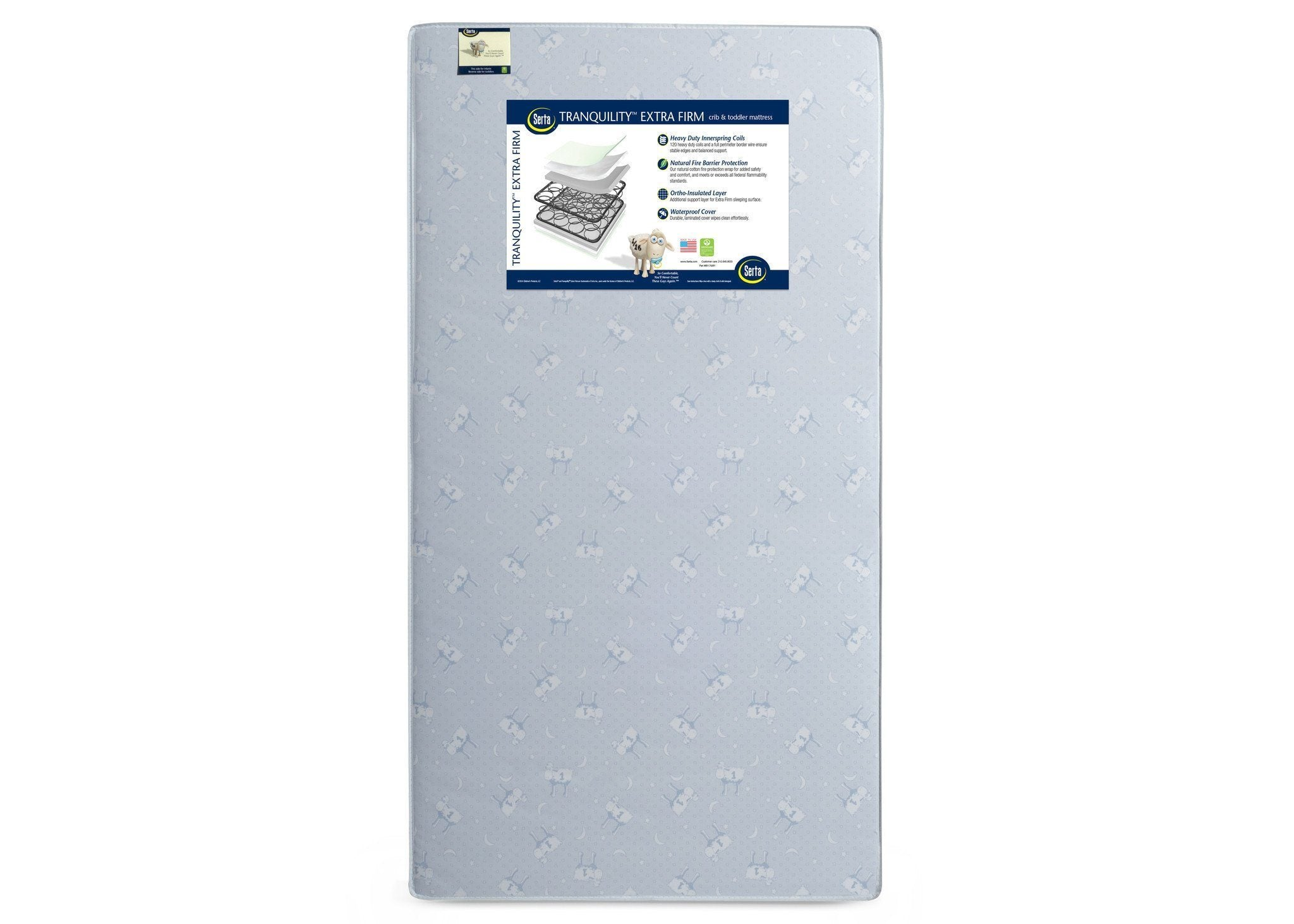 Serta Tranquility Extra Firm Crib & Toddler Mattress Front View a3a No Color (NO)