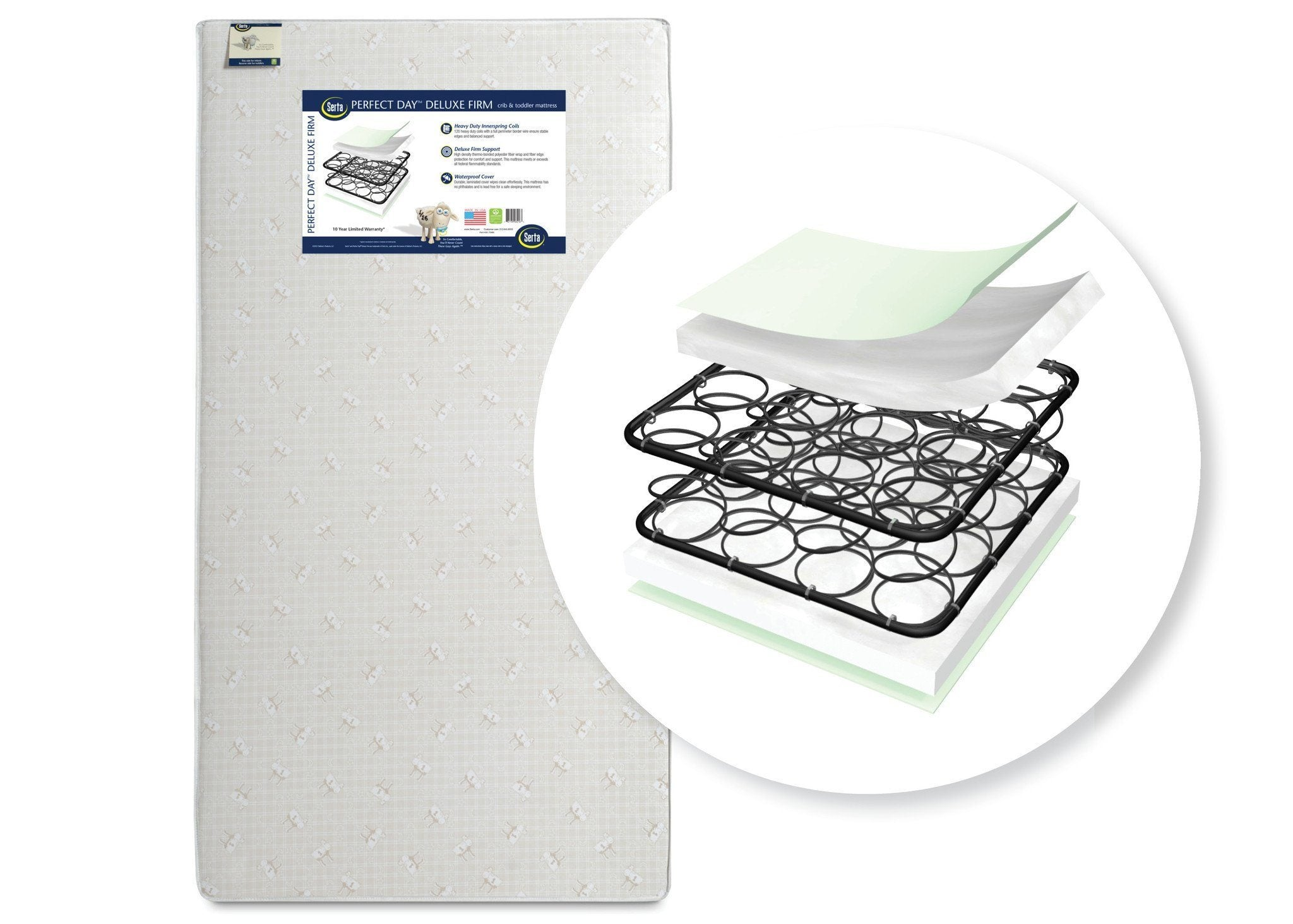 "Serta Perfect Dayâ""¢ Deluxe Firm Crib & Toddler Mattress Front View a1a"