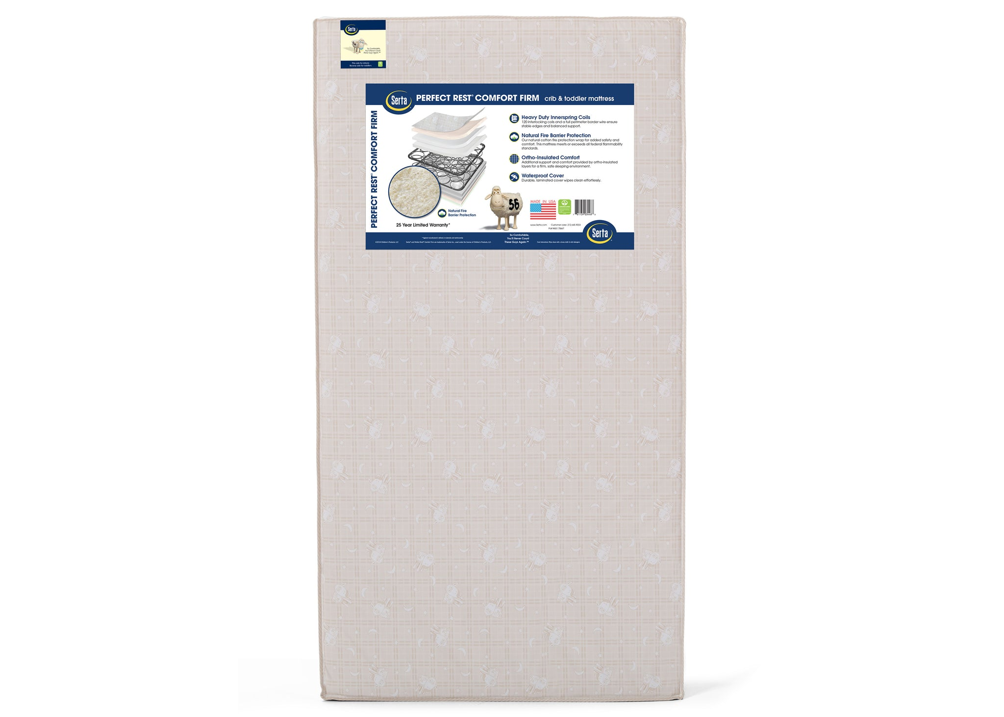 Serta Perfect Sleeper® Pirouette Crib and Toddler Mattress Front View a3a No Color (NO)