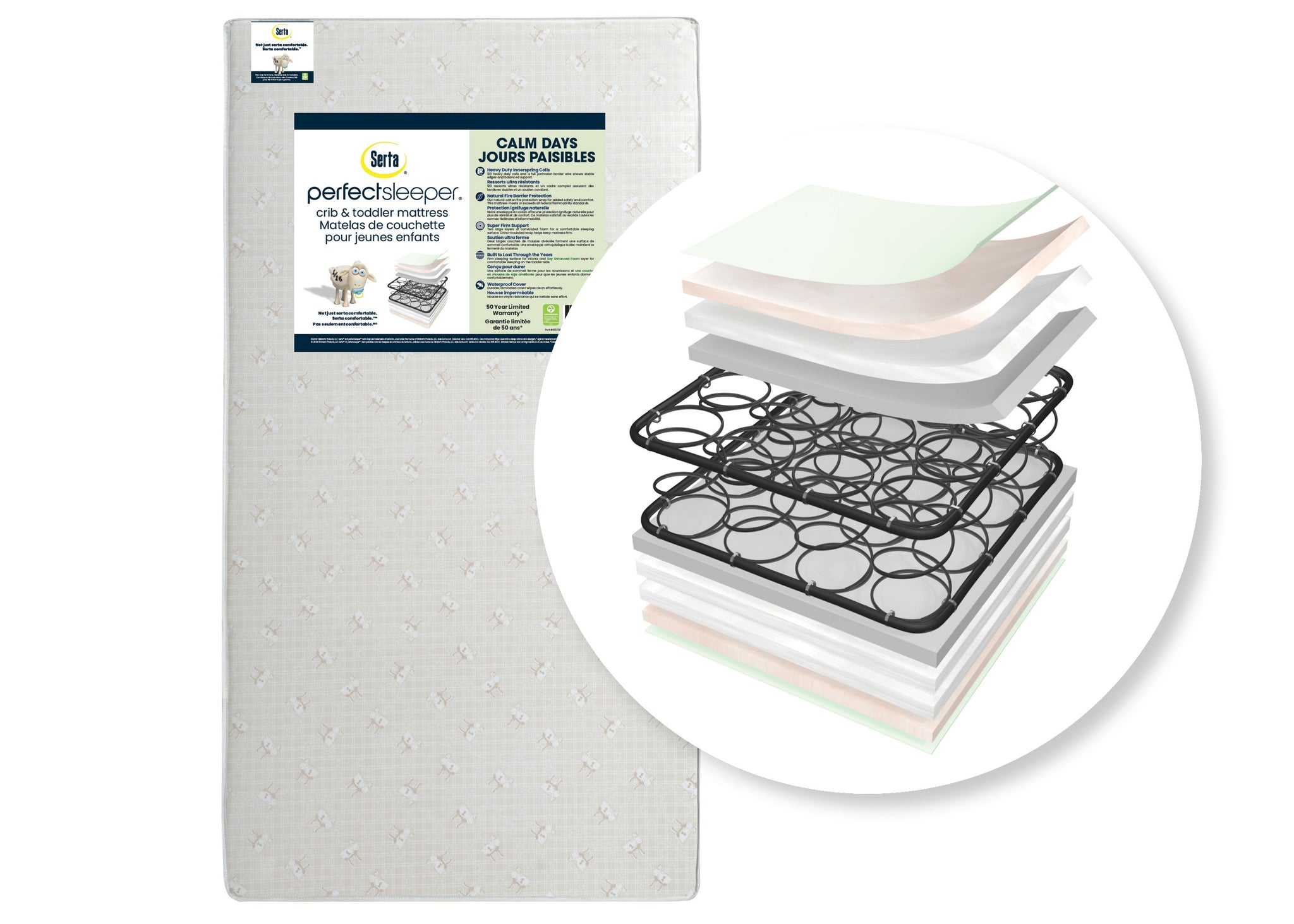 Serta Perfect Sleeper Calm Days Crib and Toddler Mattress, Cutout View No Color (NO)