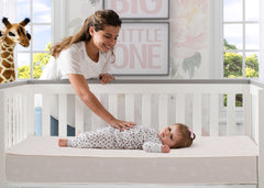 Sertapedic® Verona Innerspring Crib and Toddler Mattress (A44412-1117-NO), with models, a1a
