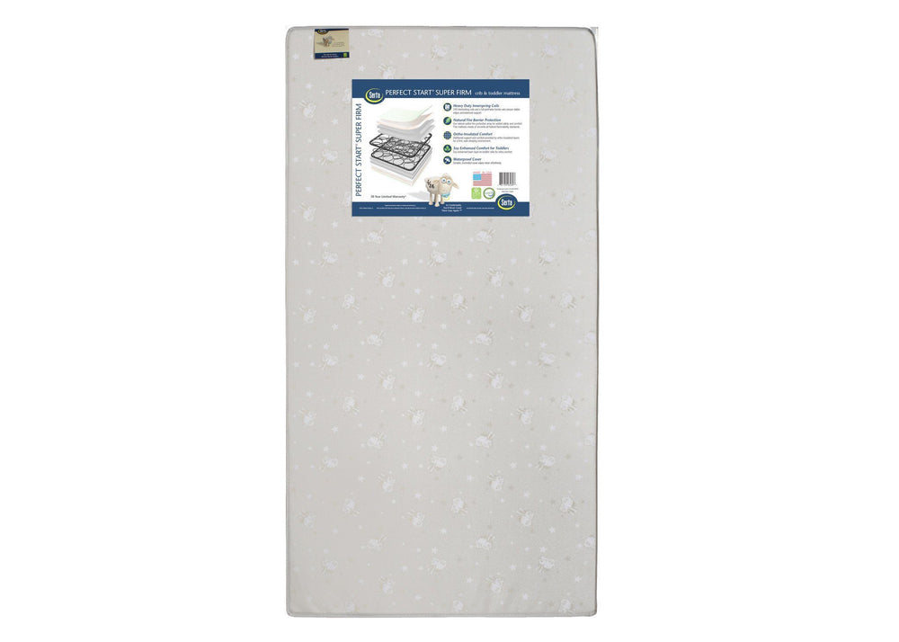 Serta Perfect Start Super Firm Crib & Toddler Mattress, Front View, a3a