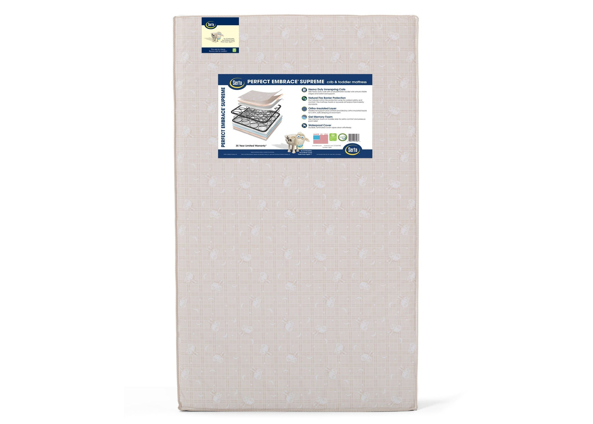 Serta Perfect Embrace Supreme 2 Stage Crib and Toddler Mattress (A46111-1117), a3a No Color (NO)