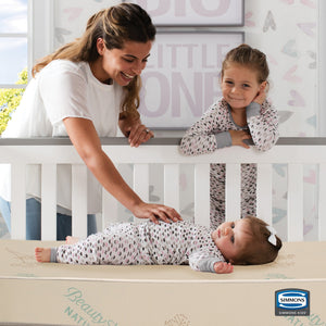 Simmons Kids SlumberTime Naturally 4-Inch Mini Crib Mattress, Lifestyle View