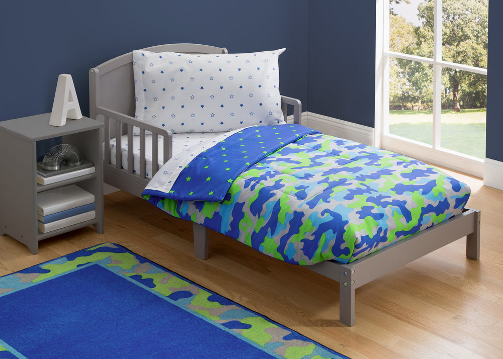 Boy 4-Piece Toddler Bedding Set, Camo and Stars (2202) d1d