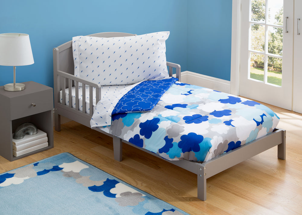 Boy 4-Piece Toddler Bedding Set, Blue Clouds (2203) c1c