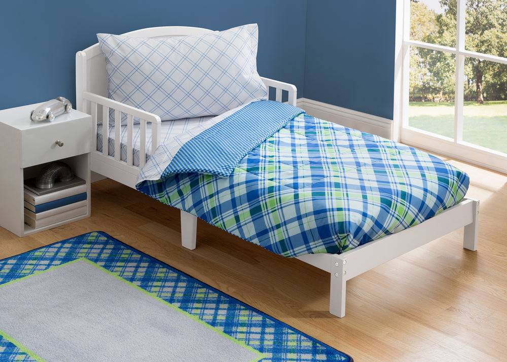 Boy 4-Piece Toddler Bedding Set, Plaid and Gingham (2204) h1h