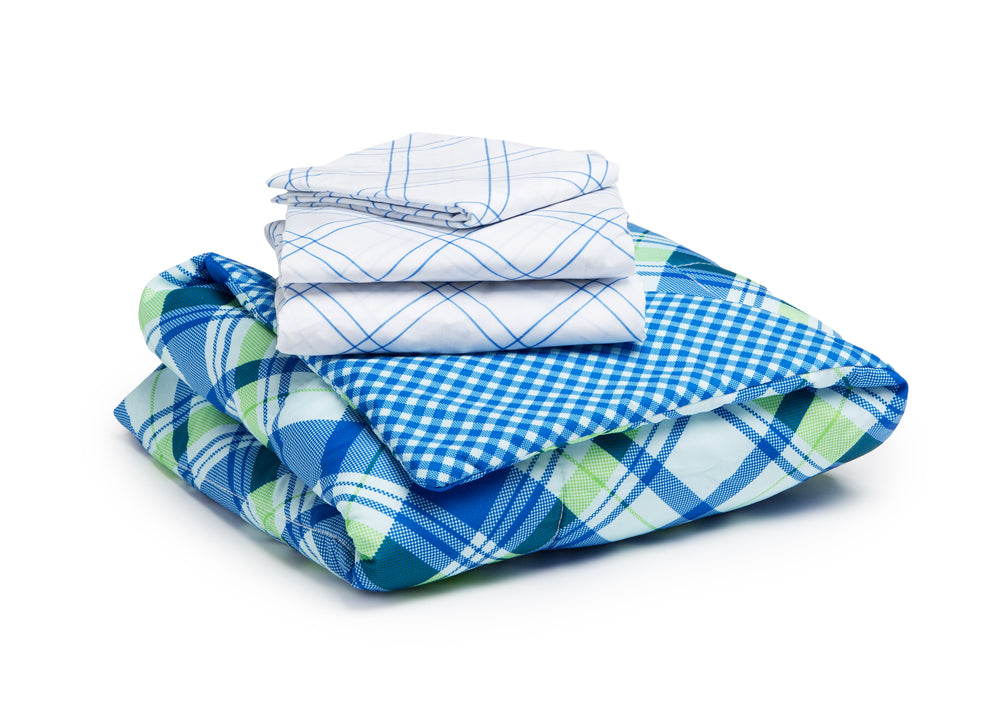 Boy 4-Piece Toddler Bedding Set, Plaid and Gingham (2204) h4h