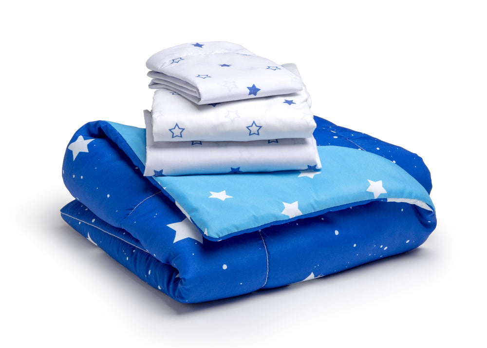 Boy 4-Piece Toddler Bedding Set, Blue Starry Night (2205) e4e