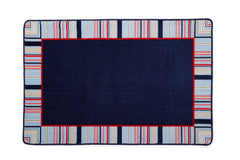 Boys Soft Kids Area Rug, All-American Stripes Red, Blue & Tan (2200) a2a