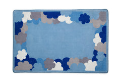 Boys Soft Kids Area Rug, Blue, White & Grey Clouds (2203) d2d