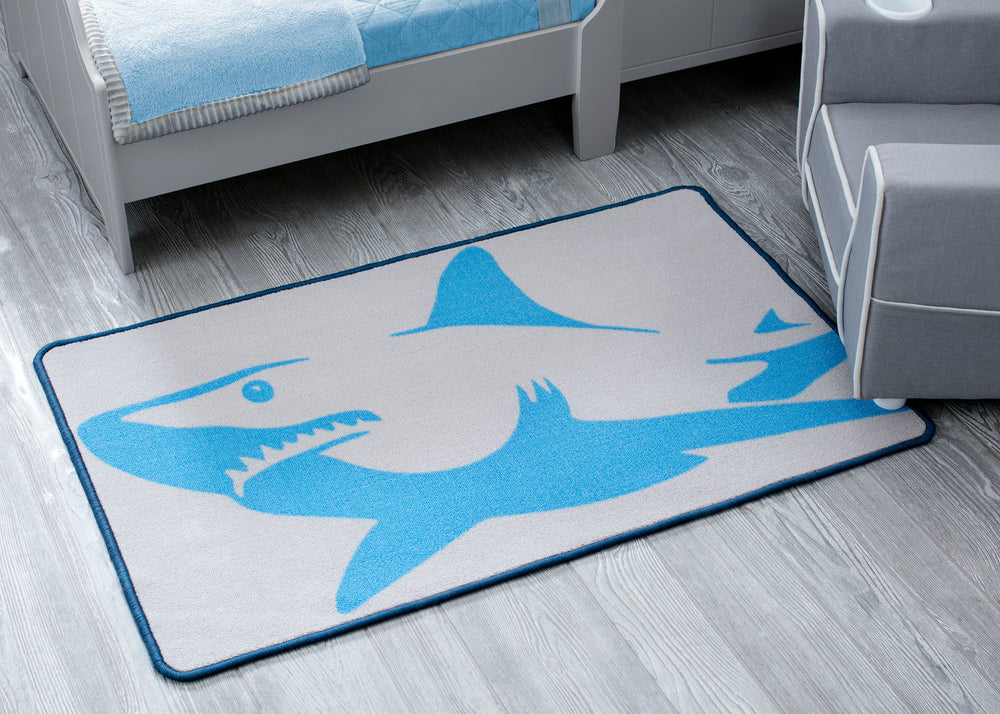 Delta Children Shark (3208) Non-Slip Area Rug for Boys, Hangtag View