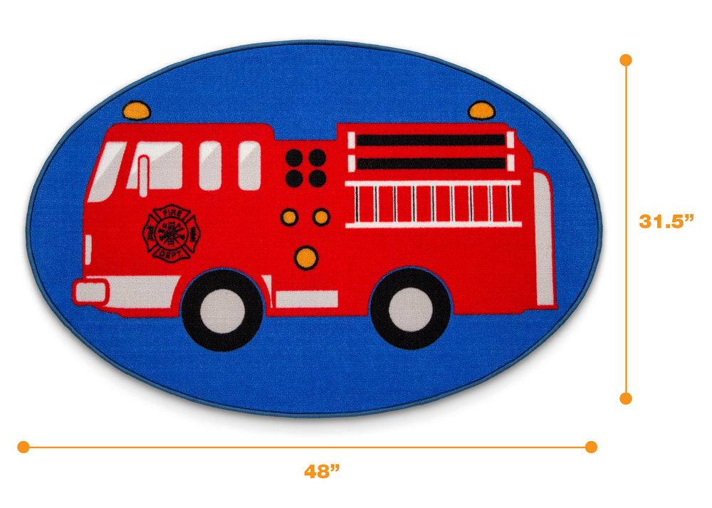 Delta Children Firetruck (3211) Non-Slip Area Rug for Boys, Measured View