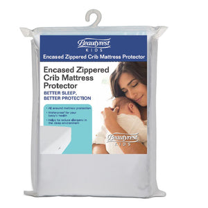 Beautyrest KIDS Zippered Crib Mattress Encased Protector Packaged View a1a No Color (NO)