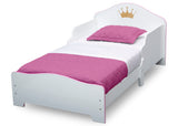 Princess Crown Wood Toddler Bed, White/Pink
