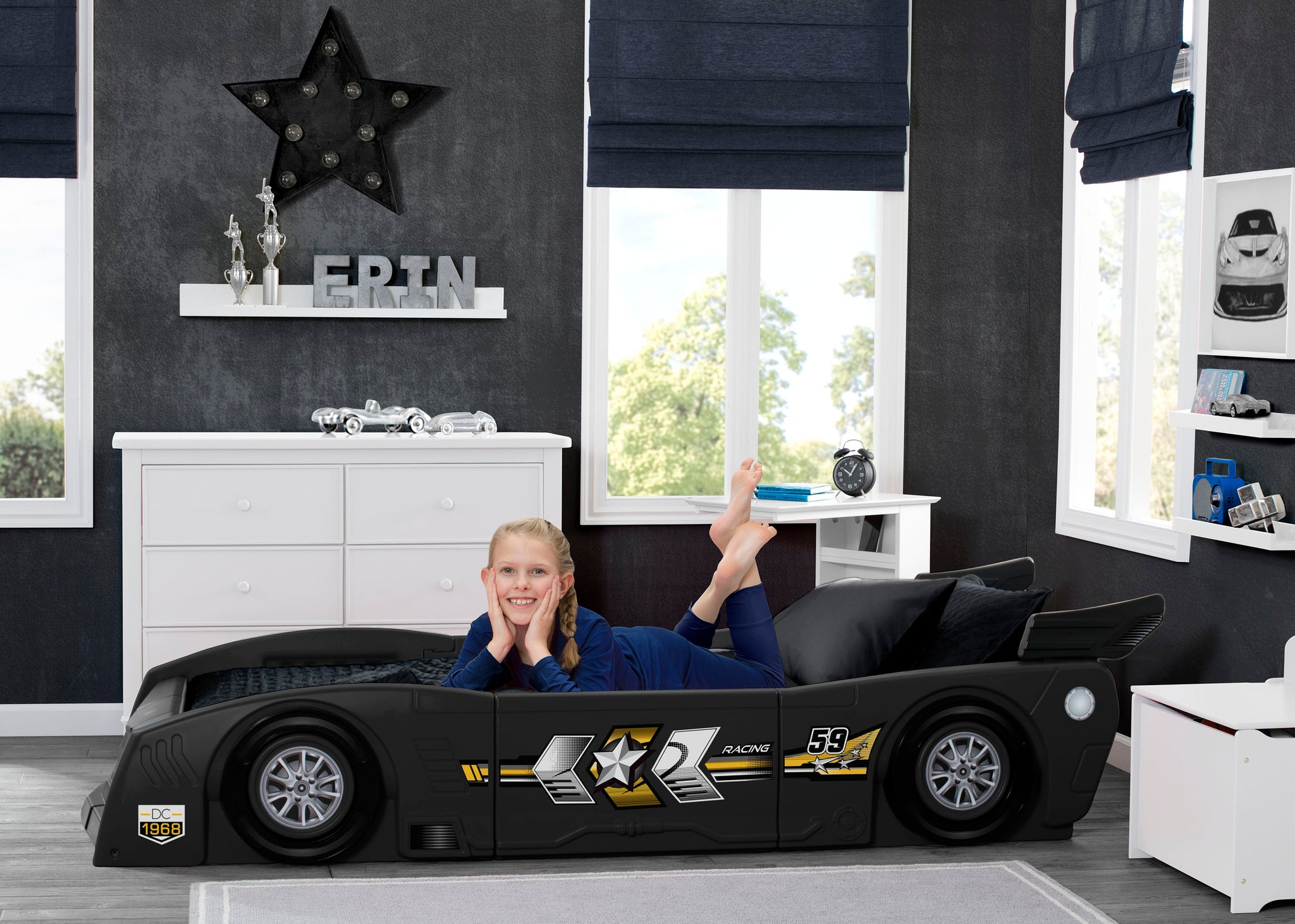 Delta Children Black (001) Grand Prix Race Car Toddler-to-Twin Bed, Twin Room View