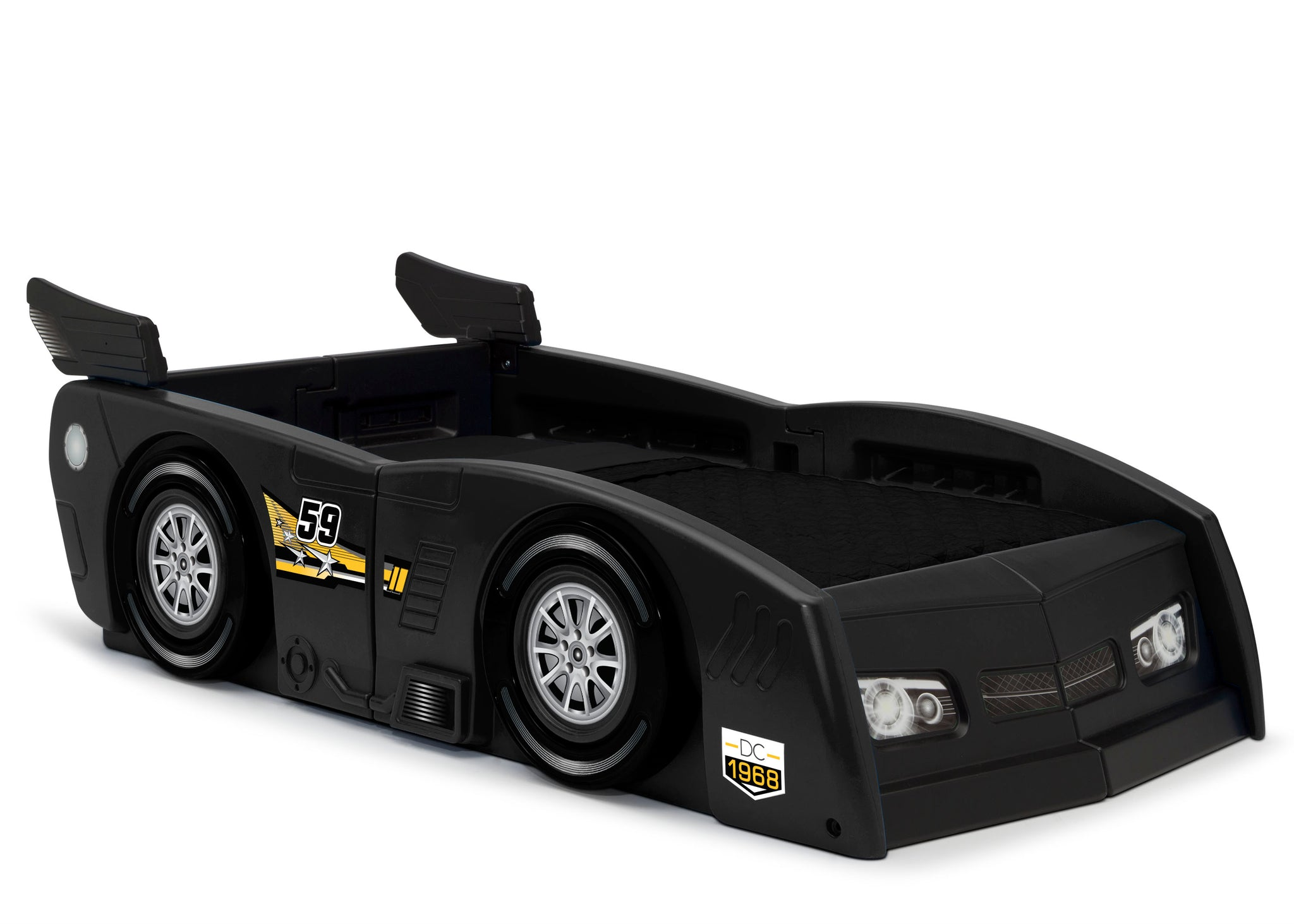 Delta Children Black (001) Grand Prix Race Car Toddler-to-Twin Bed, Toddler Right Silo View